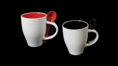Image for CONICAL MUG WITH SPOON AND COLORED INTERIOR
