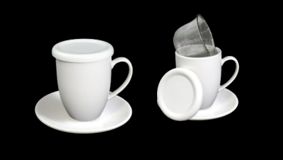 Image for ROUND TISANE WITH DISH, LID AND METAL FILTER