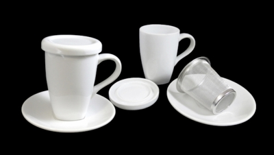 Image for TISANE WHITH LID AND METAL FILTER