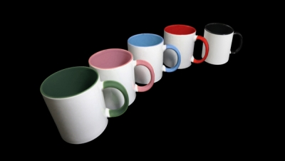 Image for WHITE MUG WITH COLOURED INTERIOR AND HANDLE