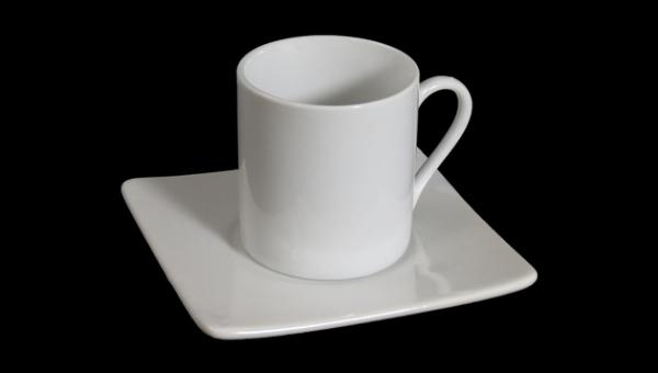 Juego de caf de taza recta con plato cuadrado hisp nica for Juego tazas cafe